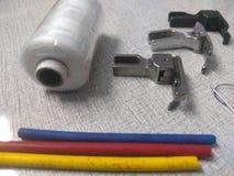 Garment industry. Thread, stick, colourstick, pressureboot stock photo