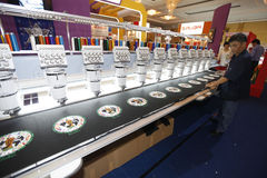 Garment machinery exhibition Stock Photos