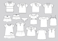 Garment shapes 1. Vector illustration of some boys and girls garment shapes Royalty Free Stock Photo