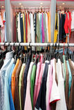 Garments. Hanging in a clothing shop royalty free stock images