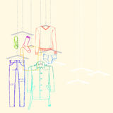 Garments fall collection. Illustration of window display for men's wear, fall collection Royalty Free Stock Photography