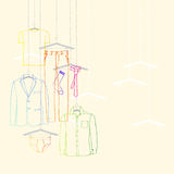 Garments suit and tie. Illustration of window display for mens wear, suit and tie Royalty Free Stock Photo