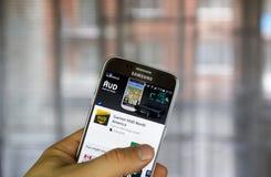 Garmin HUD North America app. MONTREAL, CANADA - MARCH 10, 2017 : Garmin HUD North America app on Samsung s7 screen. Garmin is an American multinational stock images