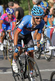 Garmin Sharp French cyclist Christophe Le Mevel. Rides with the pack during the Vuelta Ciclista a Espana cycling race in Barcelona on August 26, 2012 Royalty Free Stock Image