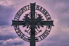 Summit cross on the Austrian Tyrolean side of the Zugspitze