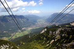 Garmisch-Partenkirchen in the german Alps. Garmisch-Partenkirchen, city of the Olympics 1936, in the german Alps, seen from the cable car to mount Alpspitze stock photography