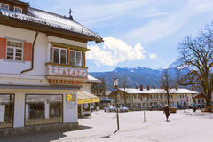 GARMISCH-PARTENKIRCHEN, GERMANY – APRIL 03, 2015: Garmisch-Partenkirchen is a mountain resort town in Bavaria, southern Germany. Stock Photography
