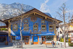GARMISCH-PARTENKIRCHEN, GERMANY – APRIL 03, 2015: Garmisch-Partenkirchen is a mountain resort town in Bavaria, southern Germany Stock Photos