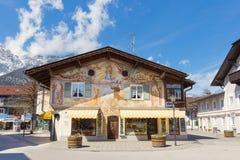 GARMISCH-PARTENKIRCHEN, GERMANY – APRIL 03, 2015: Garmisch-Partenkirchen is a mountain resort town in Bavaria, southern Germany Stock Photo