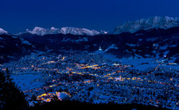 Garmisch-Partenkirchen In Cold Winter Night Stock Photos