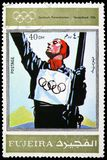Garmisch Partenkirchen 1936, Winter Olympics 1924-1972, Advertising posters serie, circa 1972. MOSCOW, RUSSIA - MARCH 23, 2019: Postage stamp printed in United royalty free stock images