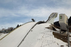 Garmisch ski jump tower. In 2007 the old Olympic Ski Jump was replaced by a modern starting tower Stock Photo