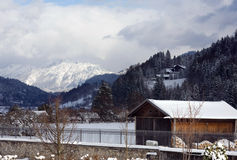 Garmisch Valley and Alps with shed Royalty Free Stock Image