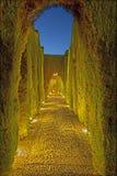 Garnada - die Generalife-Gärten von Alhambra-Palast an der Dämmerung Stockfotografie