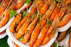 Garnalen en brandwond met zeevruchtensausen, Thais voedsel royalty-vrije stock fotografie