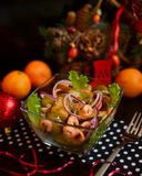 Garnalen & Geroosterde Aardappel Warme Salade Royalty-vrije Stock Fotografie