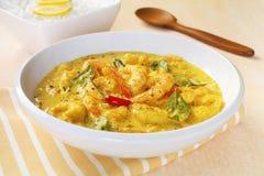 De Garnalen van de garnaal kruiden de Indische Keuken van de Maaltijd van het Voedsel met kerrie Royalty-vrije Stock Fotografie