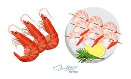 Garnalen op een vleespen met rozemarijn en citroen op de plaat Garnalen die op witte achtergrond worden geïsoleerda vector illust Stock Afbeeldingen