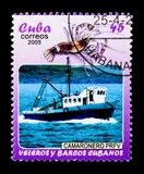 Garnalenboot, Cubaanse Boten en Zeilboten serie, circa 2005 Royalty-vrije Stock Fotografie