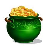 Garnek pełno złote monety ilustracja wektor