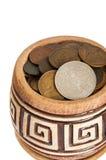 Garnek pieniądze, stary srebro i miedziane monety odizolowywający na białym tle, Obraz Stock