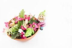 Garnek z kwiatami i elfem obrazy stock