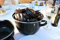Garnek z Odparowanymi Mussels Fotografia Royalty Free