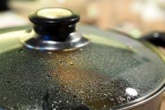 Garnek z szklanym pokrywkowym zbliżeniem widzieć wodną kontrparę opuszcza Zdjęcia Stock