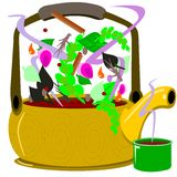 garnek ziołowa herbata ilustracja wektor