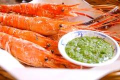 Garnela - owoce morza napój i zdjęcia royalty free