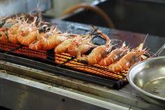 Garnela piec na grillu na kuchence Obrazy Royalty Free