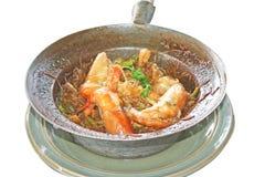 Garnele eingemacht mit den Suppennudeln lokalisiert lizenzfreies stockfoto