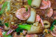 Garnele gebratene Suppennudeln und Gemüse Stockfotografie