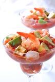 Garnele mit Avocado-Salsa-Soße Lizenzfreies Stockfoto