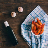 Garnele mit Olivenöl und Knoblauch Stockfoto