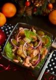 Garnele u. gebratener Kartoffel-warmer Salat Lizenzfreie Stockbilder