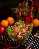 Garnele u. gebratener Kartoffel-warmer Salat Lizenzfreie Stockfotografie