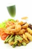 Garnele und gebratenes Gemüse. Stockfoto