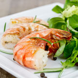 shrimp with salad Stock Photos