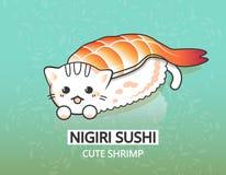 Garnelen-Lebensmittelillustration des Vektors japanische Miezekatze ebi nigiri Sushi Glückliche Zeichentrickfilm-Figur Lizenzfreies Stockbild