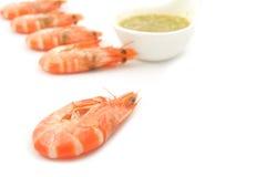 Garnelen mit Meeresfrüchte-Soße Stockbild