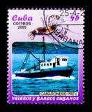 Garnelenboot, kubanisches Boote und Segelboote serie, circa 2005 Lizenzfreie Stockfotografie
