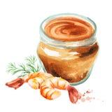 Garnelenpaste watercolor lizenzfreie abbildung