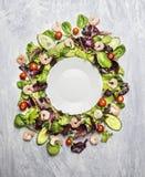 Garnelensalat mit Kopfsalat und Tomaten um weiße leere Platte, auf hellgrauem hölzernem Hintergrund, Draufsicht Stockfotos