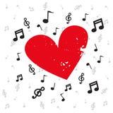 Garnering av musikaliska anmärkningar med röd hjärtagrunge och bakgrundsmusik stock illustrationer