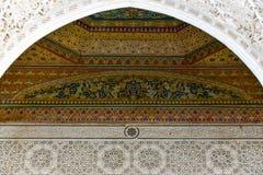 Garnering för Bahia slottinre Marrakesh Marocko Royaltyfria Bilder