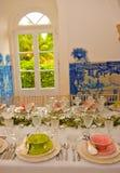 Garnering för banketttabeller, bröllop eller födelsedaghändelse, matställeparti Fotografering för Bildbyråer