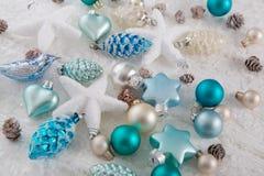 Garnering för för brunt och vita jul för blått, för turkos, Arkivfoton