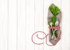 Garnering för fruncher för träd för jul för tabellställeinställning royaltyfria bilder