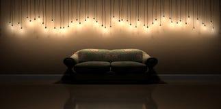 Garnering för hängande vägg för ljus kula i rum med tappning blom- S arkivbild